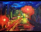 City Night Lights - Original Abstract Urban Painting
