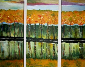 REFLECTION -    Original Acrylic Modern Triptych Landscape  Painting