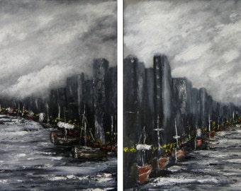 Clouds over the Harbor - Original Seascape Oil Paintings