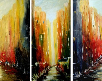 AFTERNOON in the CITY -  Original Triptych Oil Cityscape  Abstract  Paintings