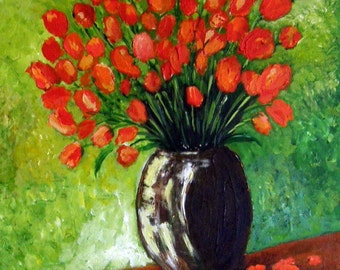"Tulips -   Impasto 24""x 36""x 1.5"" Original Impasto Acrylic Floral Painting"