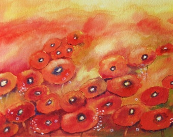 BRIGHT and RED - Original Floral Watercolor Painting