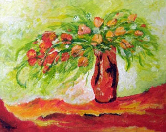 Floral Fantasy - Original Floral Painting on Canvas.
