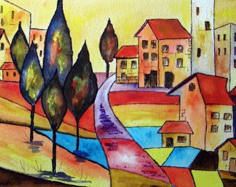 FANTASY STREET -  Whimsical Watercolor Painting