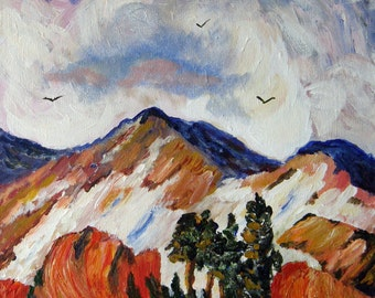 Mountain View #2 - Original Acrylic Textured Landscape Painting