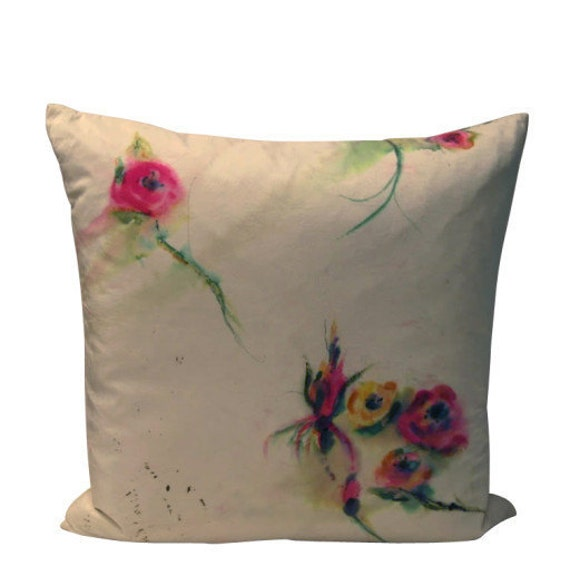 Cottage Garden Pillow Hand Painted Silk