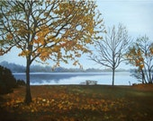 End of Fall Landscape Painting - 18x14in Giclee Print