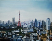 Tokyo Cityscape Painting - 10x8in Mini Giclee Print