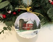 OOAK Oil Painting Christmas Tree Ornament - Red Barn