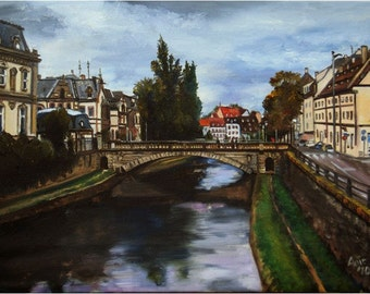 Strasbourg - 12x9in Original French Oil Painting On Sale
