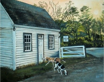 Fox Hounds Landscape Painting - 10x8in Mini Giclee Print