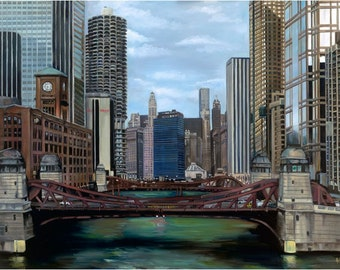 Chicago River Oil Painting Giclee Print - 18x14in Chicago Art Print
