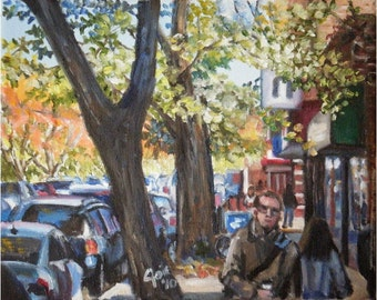 Hyde Park, Chicago - 10x8in Original Oil Painting On Sale