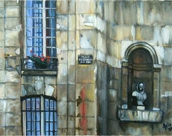 Parisian Windows Original Oil Painting - 14x11in On Sale