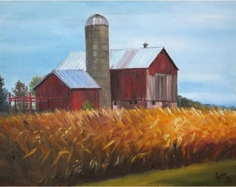 Wisconsin Farm Painting  - 14x11 in Original Oil On Sale