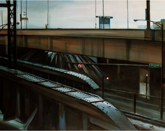 Modern, Industrial Cityscape Original Oil Painting - 30x24 On Sale