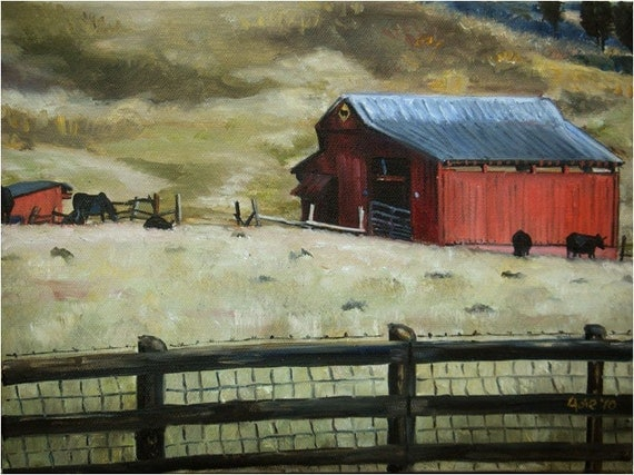 Red Tennessee Barn Original Oil Painting - 12x9in On Sale