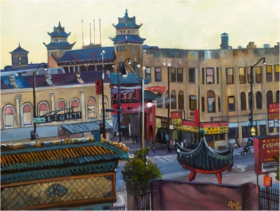 Chinatown Oil Painting - 18x14in Giclee Print