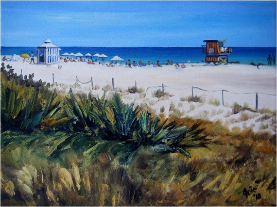 Florida Beach Painting - 16x12in Original Beach Oil Painting