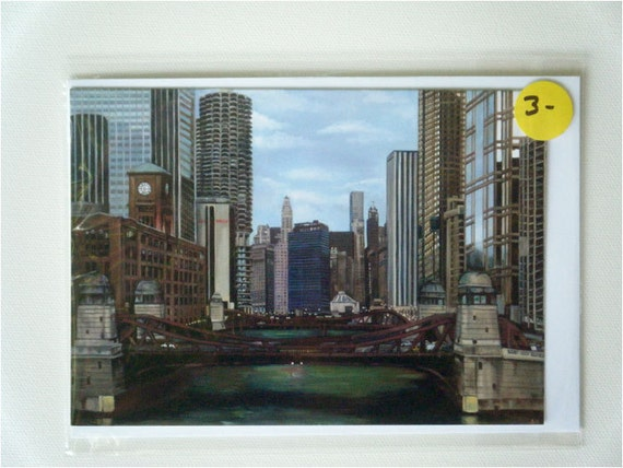 Chicago Cityscape Painting Blank Notecard
