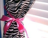 FUNKY Gothic Style Rocker Zebra Curtains Drapes with Satin HOT Pink BOWS Tie Backs