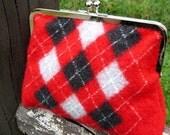 Red Argyle Felt Clutch Purse - Upcycled