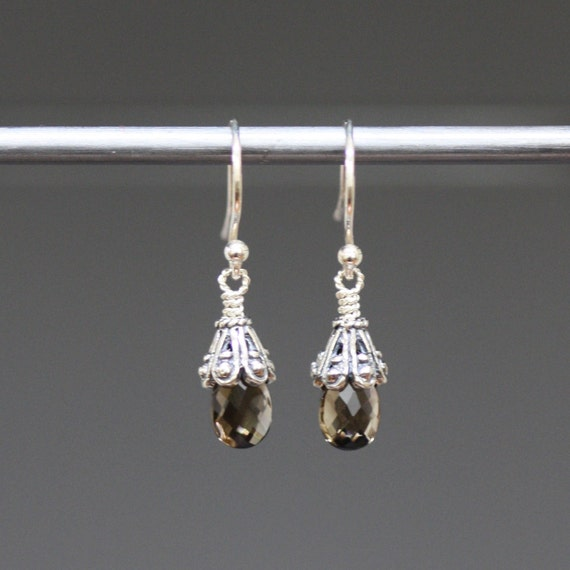 Petite Smokey Topaz Faceted Teardrop Earrings with Bali Silver Caps