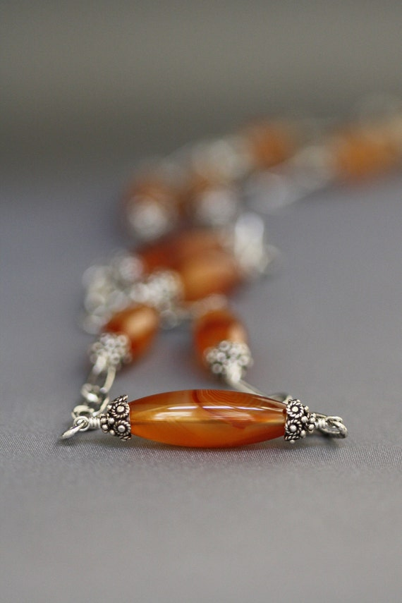 Gorgeous Long Chain with Smooth Carnelian Barrels, Bali Silver Caps, Hammered Silver Links and Matching Earrrings