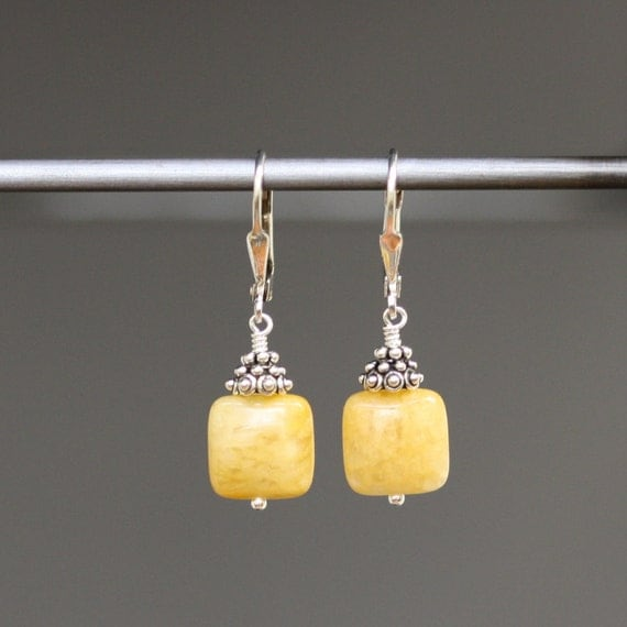 Yellow Jade Smooth Square Earrings with Bali Silver Caps