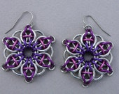 Chainmaille earrings--Celtic vision star in purple anodized aluminum