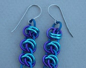 Blue, turquoise, and purple anodized aluminum barrel weave chain maille earrings