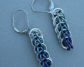 Custom order for Donna--Sterling silver and blue anodized niobium color fade full Persian chain maille earrings