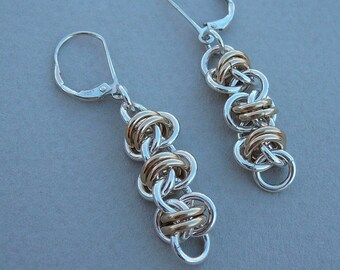 Chain maille earrings sterling silver and gold fill barrel weave dangle
