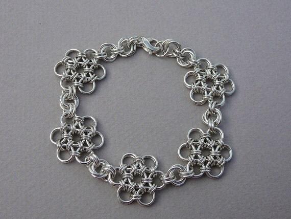 Chain maille bracelet sterling silver Japanese flower