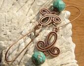Awakening - Turquoise on Copper earrings - Bohemian Style