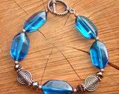 Vintage glass on Copper bracelet - Bohemian Style