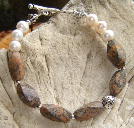 Leopard Jasper and Freshwater Pearl Bracelet