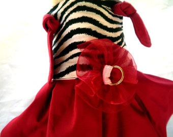 DOGS KNOT DRESS in Zebra and Red harness style