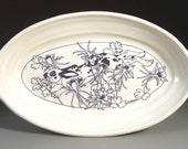 Oval Serving Dish with Leaping Rabbit