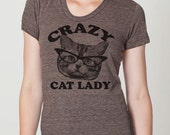 CRAZY CAT lady t shirt -- american apparel  S M L XL  ( 6 colors ) skip n whistle