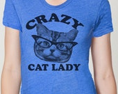 CRAZY CAT lady t shirt -- american apparel  S M L XL  and larger ( 2 colors ) skip n whistle