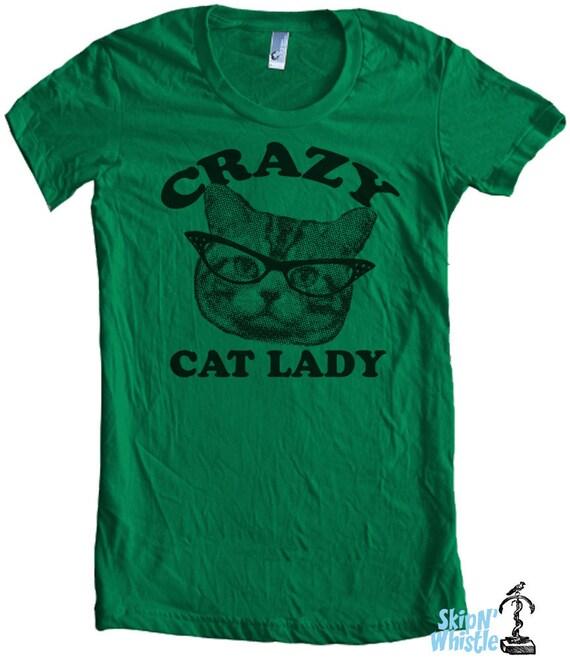 CRAZY CAT lady t shirt -- american apparel  S M L XL  ( 6 colors )