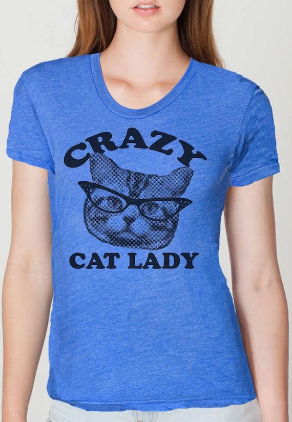 CRAZY CAT lady womens t shirt