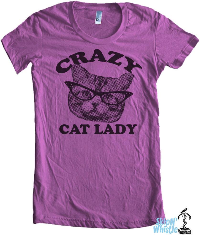 CRAZY CAT lady t shirt american style apparel S M L XL