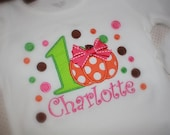 Infant Toddler Girls Clothing Polka Dots Pumpkin Birthday Shirt Personalized Name Number Birthday Outfit Fall Thanksgiving Halloween