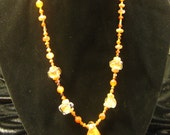 Orange Glass Pendant Gemstone Beadwork Necklace