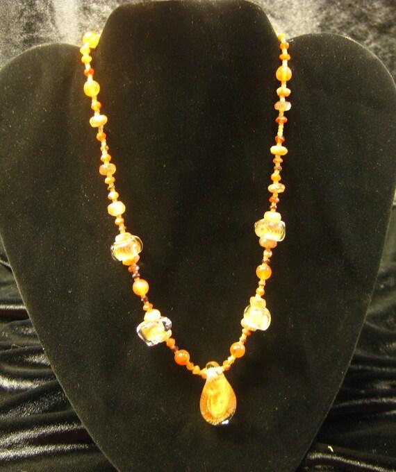 Orange Glass Pendant Gemstone Beadwork Necklace