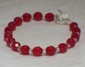 Ruby red crystal bracelet