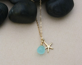 Aqua Quartz Briolette and Starfish Charm Necklace-14k Gold Fill Chain