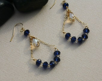 Swarovski Chandelier Earrings in Golden Shadow and Indigo -14k Gold Fill